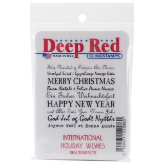 Deep Red Cling Stamp 2X2 International Holiday Wishes   16657930