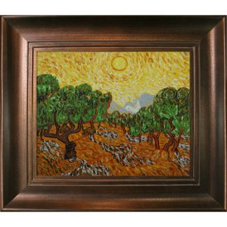 Tori Home Van Gogh Olive Trees with Yellow Sun and Sky Hand Painted