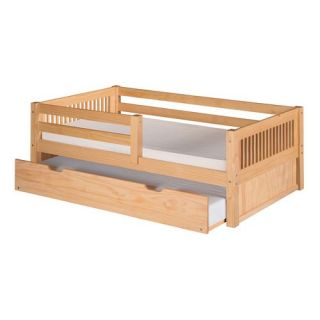 Camaflexi C311 TR Twin Day Bed with Front Guard Rail Trundle and Mission Headboard in Natural