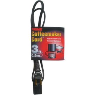Prime Coffee Maker and Small Appliance Power Supply Cord, Black, 3 Feet