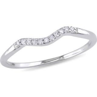Miabella Diamond Accent 10kt White Gold Curved Wedding Band