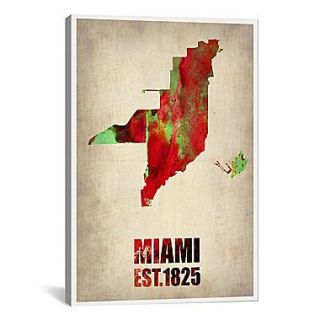 iCanvas Miami Watercolor Map by Naxart Graphic Art on Wrapped Canvas; 41 H x 27 W x 1.5 D