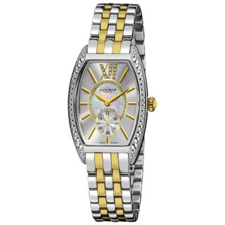 Akribos XXIV Womens Yellow/Stainless Steel Diamond Swiss Quartz