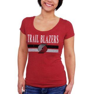 Portland Trail Blazers Sportiqe Womens Cosmo Tri Blend Scoop Neck T Shirt   Red