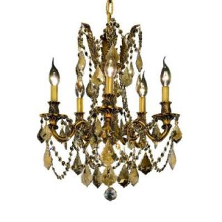 Elegant Lighting 5 Light French Gold Chandelier with Golden Teak Smoky Crystal EL9205D18FG GT/RC