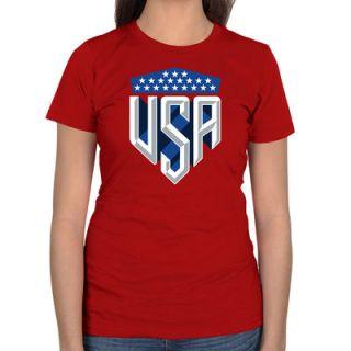 : USA Womens USA Shield Slim Fit T Shirt   Red