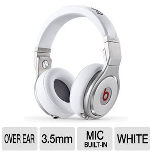 Beats by Dr. Dre PRO On ear Headset   3.5mm Twist Lock Plug, 1/4 Audio Adapter, In line Remote, In line Microphone, White    900 00035 01