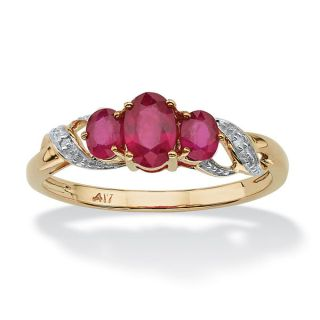 PalmBeach 1 TCW Oval Cut Ruby and Diamond Accent Three Stone Ring in