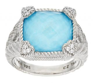 Judith Ripka Turquoise with Crystal Doublet Diamonique Ring —