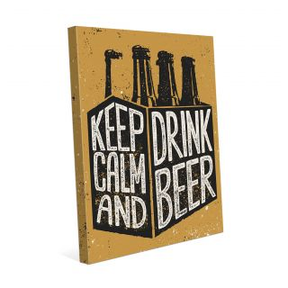 Keep Calm and Drink Beer Six Pack Graphic Art on Wrapped Canvas by