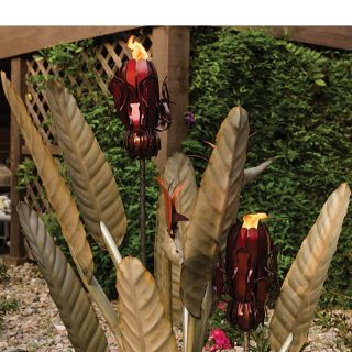 Desert Steel Birds of Paradise Statue with Two Torches