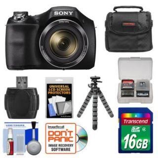Sony Cyber Shot DSC H300 Digital Camera with 16GB Card + Case + Flex Tripod + Kit