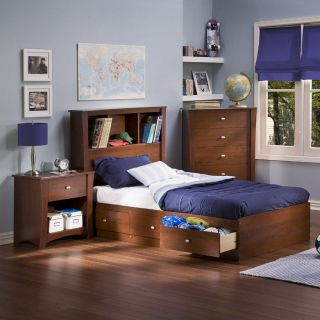 South Shore Furniture Jumper Classic Cherry Twin Platform Bed with Storage