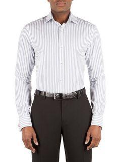 Alexandre of England Wide dobby stripe formal shirt Blue