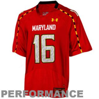 No.16 Maryland Terrapins Under Armour Replica Football Jersey – Red