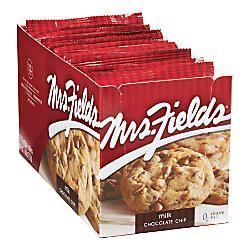 Mrs. Fields Gourmet Chocolate Chip Cookies 2.1 Oz Box Of 12