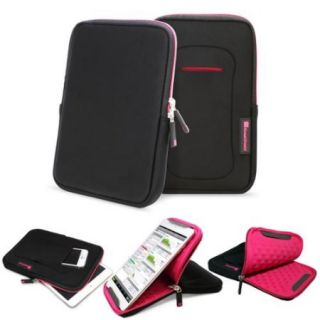 """GreatShield Stylish Premium 360 Protection VIES Neoprene Sleeve Case with Kickstand for 7 to 8"""" Tablets   Black/Hot Pink"""