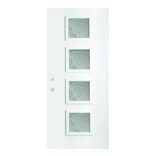 Stanley Doors 36 in. x 80 in. Evelyn Diamond 4 Lite Prefinished White Steel Prehung Front Door 1904Q 36 R