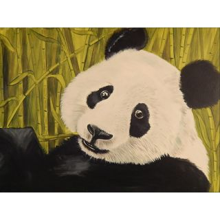 Buy Art For Less Happy Panda by Ed Capeau Painting Print on Wrapped