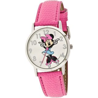 Disney Women's Minnie Mouse Molded Hands Pink Watch, Genuine Leather Strap