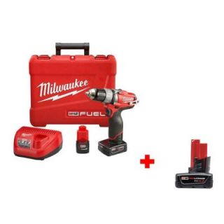 Milwaukee M12 FUEL 12 Volt Lithium Ion Brushless 1/2 in. Drill/Driver Kit with Free M12 4.0Ah Extended Capacity Battery 2403 22 48 11 2440
