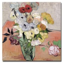 Vincent van Gogh Japanese Vase with Roses and Anemones Flat Canvas