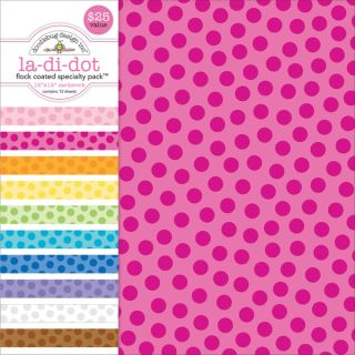 Specialty Cardstock Value Pack 12X12 Flocked La Di Dot   15452299