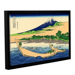 """ArtWall Katsushika Hokusai """"A Fishing Boat with Mount Fuji"""" Gallery Wrapped Floater Framed Canvas"""