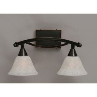 Toltec Lighting 172 Bow 2 Light Bath Bar Shown with 7 White Marble Glass
