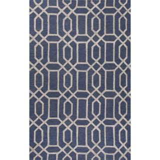 Hand Tufted Contemporary Geometric Pattern Blue (8 x 11) Area Rug