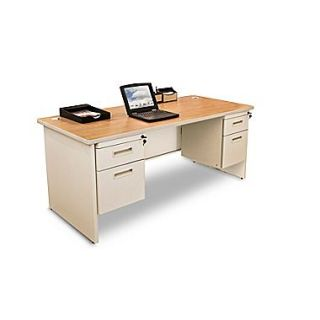 Marvel Pronto 60 x 30 Double Pedestal Desk; Oak/Pumice