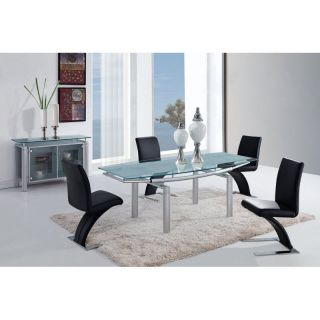 Global Furniture D88DT Rectangular Black Glass Dining Table with Black Legs