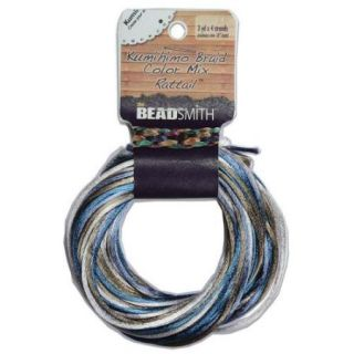 Satin Rattail Braiding Cord 1mm Chino Mix Tan/Blue 4 Colors   3 Yds Each