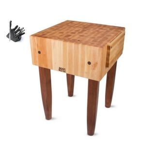 John Boos Cherry Stain 18 inch Maple Butcher Block Table with J.A