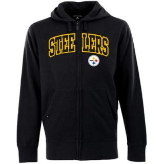 Antigua Pittsburgh Steelers Signature Full Zip Hoodie   Black