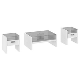 kathy ireland New York Skyline by Bush Furniture Set of (3) Occasional Tables, Plumeria White