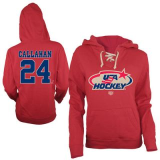 Old Time Hockey Ryan Callahan USA Hockey Womens Queensboro Name & Number Hoodie   Red