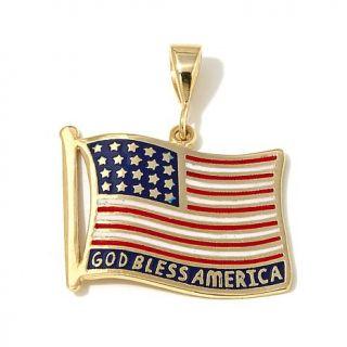 "Michael Anthony Jewelry® 10K Gold ""God Bless America"" Enameled Flag Pendant   8083418"