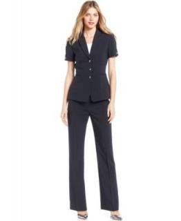 Tahari by ASL Suit, Short Sleeve Pinstriped Blazer & Pants