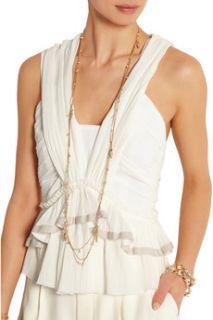 La Sabbia gold tone, agate and quartz necklace