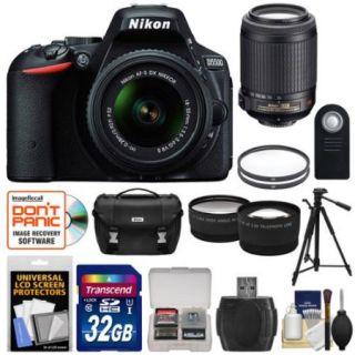 Nikon D5500 Wi Fi Digital SLR Camera & 18 55mm VR DX Lens (Black)   Factory Refurbished with 55 200mm VR Lens + 32GB Card + Case + Filters + Tripod + Kit
