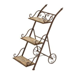 Decmode Metal and Wood Plant Stand, Brown