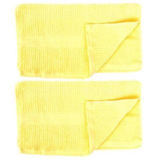 2 Pcs Cotton Blend Stripe Pattern Face Hand Washing Towel Washcloths Yellow