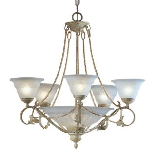 Classic Lighting Verona 31 in 8 Light Ivory Vintage Alabaster Glass Shaded Chandelier