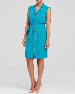 Calvin Klein Plus Belted Zip Front Moto Dress