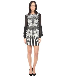 Just Cavalli Maya Print Sheath Dress w/ Chiffon Sleeves