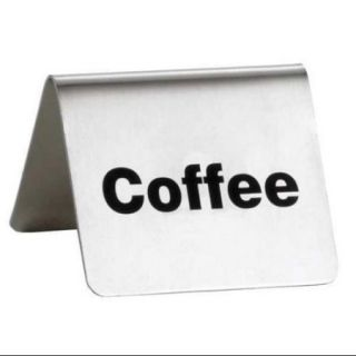 TABLECRAFT PRODUCTS COMPANY B1 Coffee Buffet Sign, SS, Silver