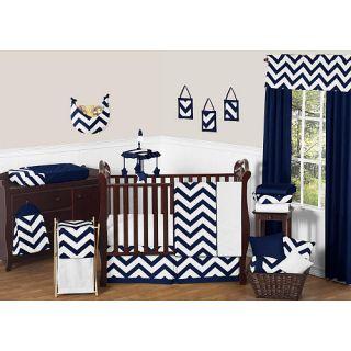 Sweet Jojo Designs Navy Blue and White Chevron 11 Piece Baby Crib Bedding Set    Sweet JoJo Designs