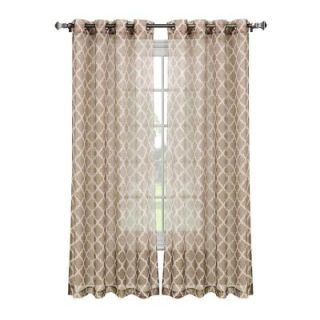 Window Elements Quatrafoil Printed Sheer Extra Wide Beige/White Grommet Curtain Panel   54 in. W x 84 in. L YMC004516