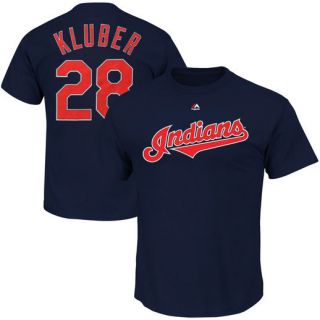 Majestic Corey Kluber Cleveland Indians Navy Official Name and Number T Shirt